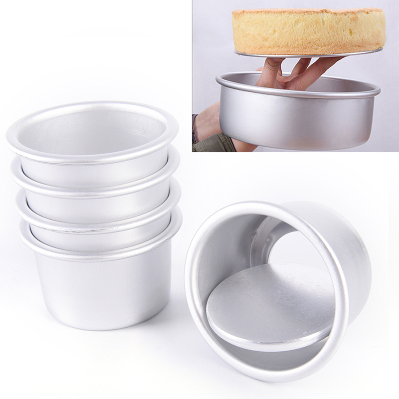 2-5inch Round Mini Cake Pan Removable Bottom Pudding Mold DIY Baking Moulds