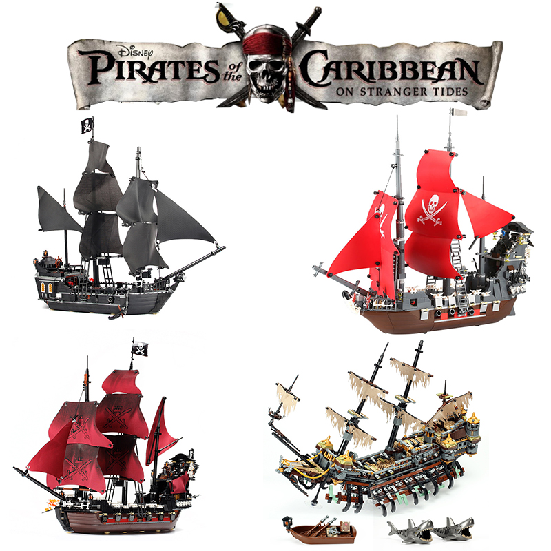 Legoing Movie 2 Pirates of The Caribbean Action Figures Creator Black pearl Ship Silent Mary Boat Model Building Blocks Kid Toys