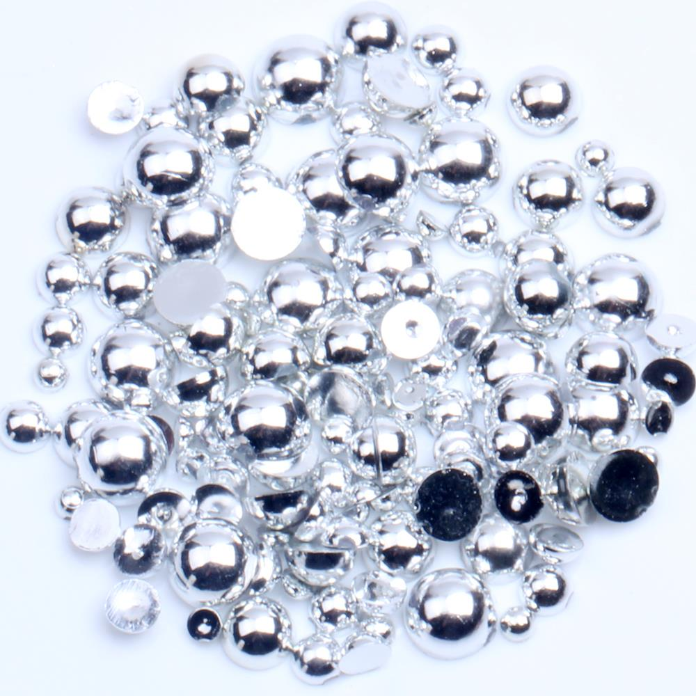 White Pearl Finish Acrylic Beads Mixed//Assorted Sizes 3mm 8mm Large Bag