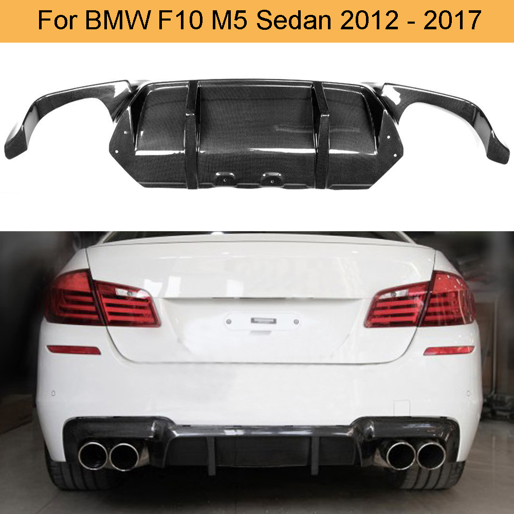 Rear Bumper Lower Diffuser Lip V Style Carbon Fiber For BMW F10 M5 2012-2017
