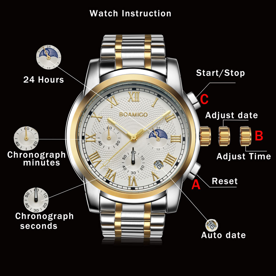 2020 New Watches Men Luxury Brand BOAMIGO Chronograph Men Sports Watches Waterproof Full Steel Dress Fashion Quartz Men's Watch
