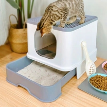 Litter-Box Deodorant Cat-Toilet Pets Gato Fully-Closed Drawer New Fat Caja-De-Arena Para