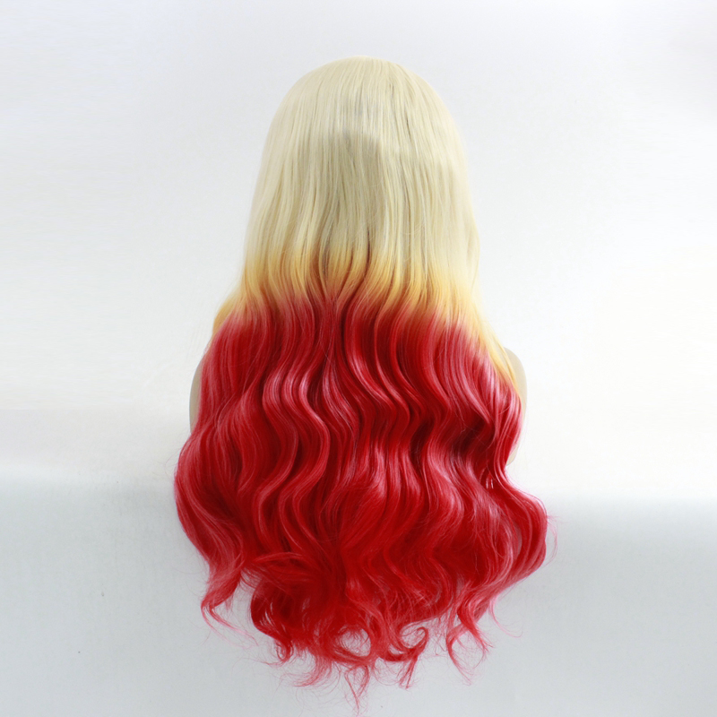 Tricolor Gradient Blonde Pink Red Color Synthetic Lace Front Wig Glueless Colorful Natural Body Wave Ombre Wigs Heat Resistant