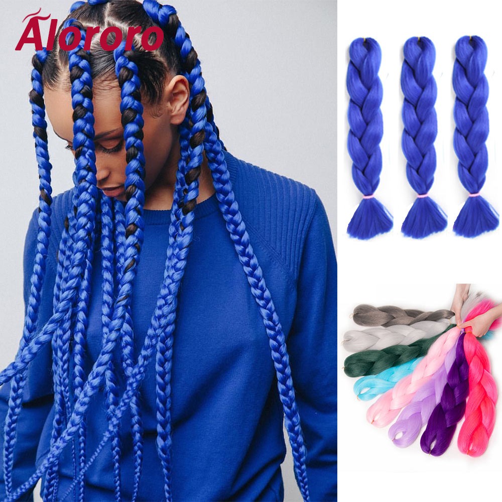 Alororo Afro Pure Braiding Hair Synthetic Braids  Extensions 24 inches Jumbo Braid Hair Extension for Braids 4/8 pack Wholesale
