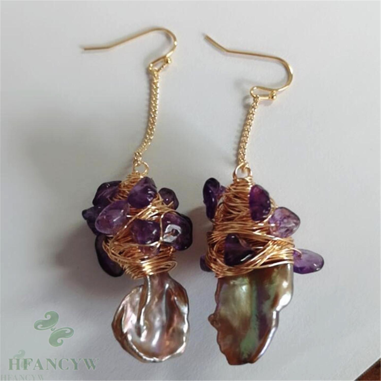 14-17mm pink Baroque Pearl Earrings 18k hook Jewelry Party Flawless TwoPin