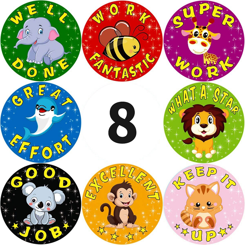 24 Styles 500pcs/roll 1Inch Cute Cartoon Animals Stickers Journal Scrapbooking Teacher Encouragement Reward Sticker for Children