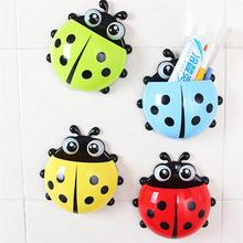 Container-Box Organizer Toothbrush-Holder Pocket-Storage Ladybug Suction-Cup Plastic