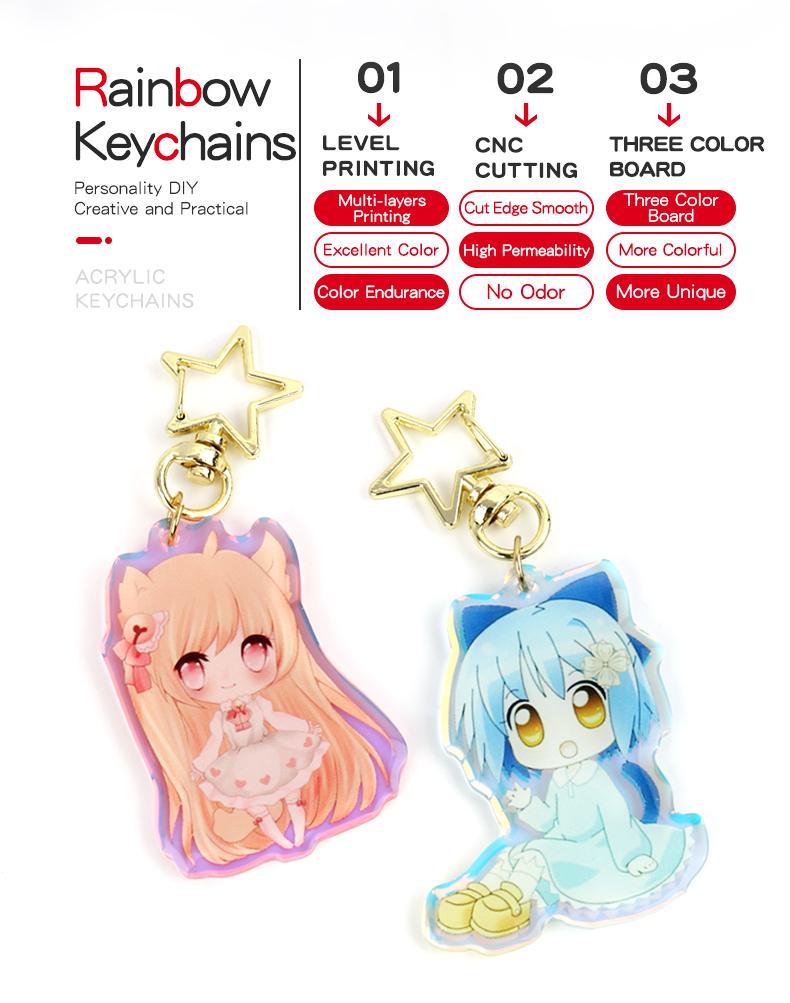 Vograce NO MOQ Eco-friendly CheapPrice Yiwu Factory Custom Acrylic Keychain Rainbow Anime Acrylic Charm