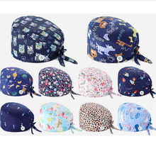 Hat Scrub-Hat Bouffant-Hat Women Nurse Quirofano-Caps Gorro Print Cotton with Sweatband