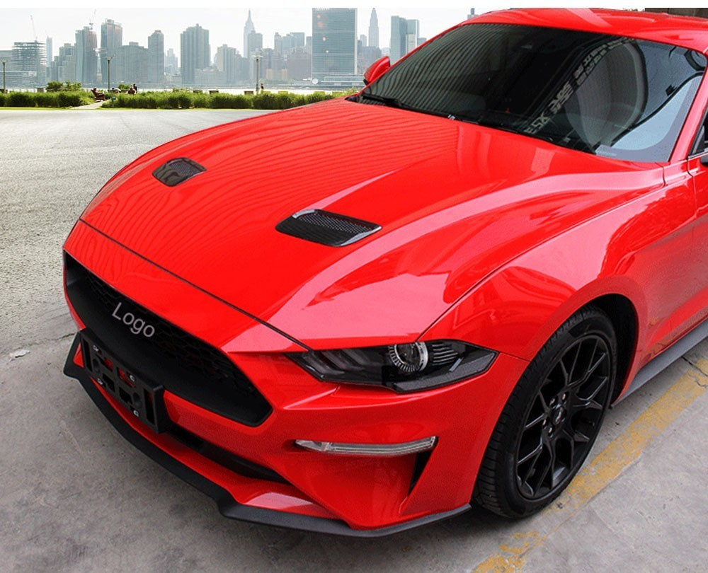 Auto Hood Engine Cover Air Outlet Decoration Frame for Ford Mustang 2018+ Carbon fiber