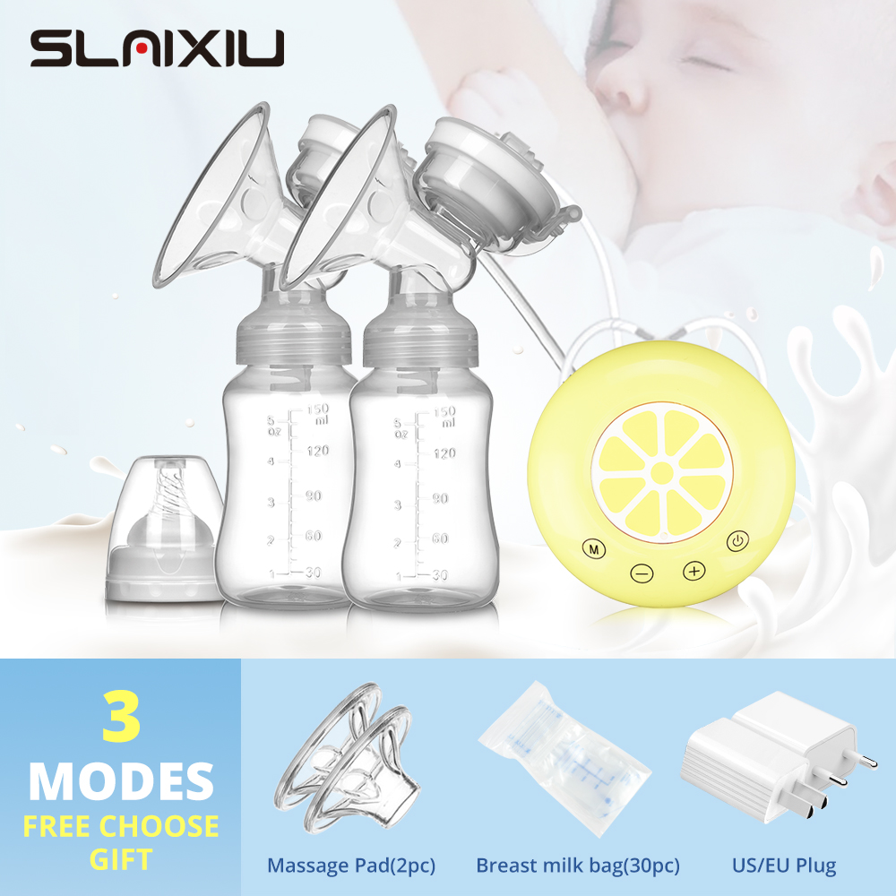 Single/Double Electric Breast Pump USB Electric Breast Pump With Baby Milk Bottle Cold Heat Pad BPA free Powerful Breast Pumps