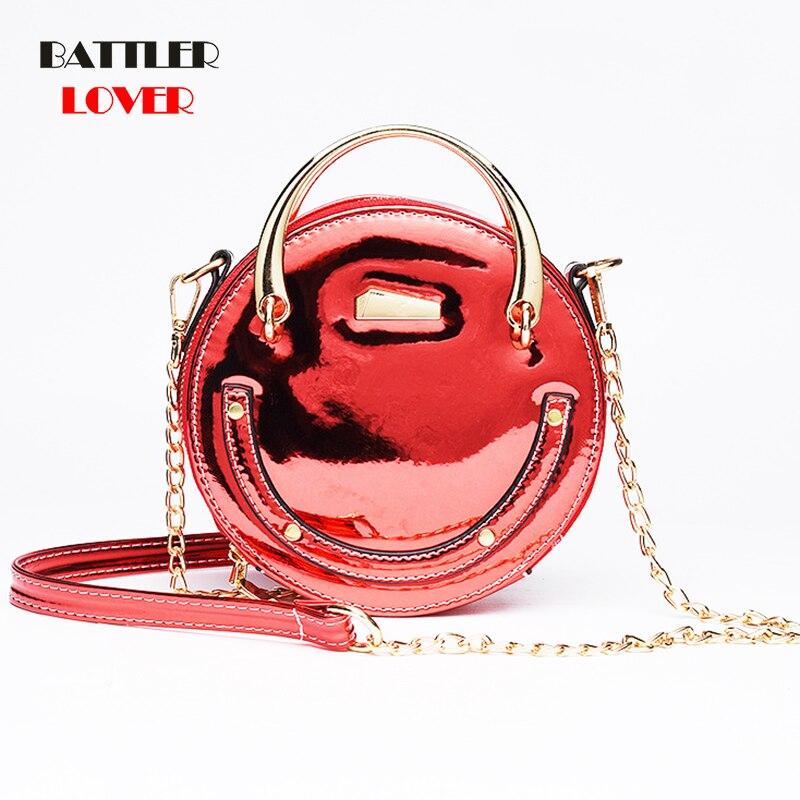2019 Womens Circular PU Shoulder Bags Round Solid Hard Chain Messenger Bags Students Fashion Zipper Crossbody Bags Metal Handle