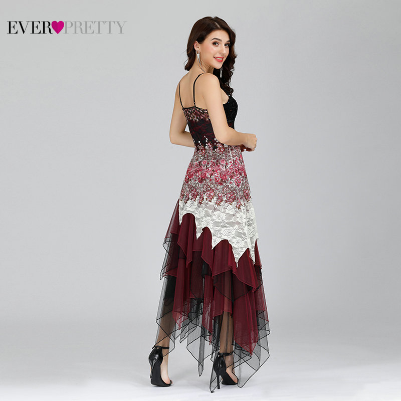 Elegant Cocktail Dresses Ever Pretty EP6212B Sexy V-neck Black and White Lace Long Wedding Plus Size Party Dress vestido coctel
