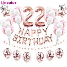 Birthday-Balloons Party-Decorations 22th-Happy-Birthday 22-Years-Old Woman-Supplies Rose-Gold
