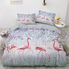 Simple Bedding Sets 3D Flamingo Duvet Quilt Cover Set Comforter Bed Linen Pillowcase King Queen Full Double Home Texitle(Китай)