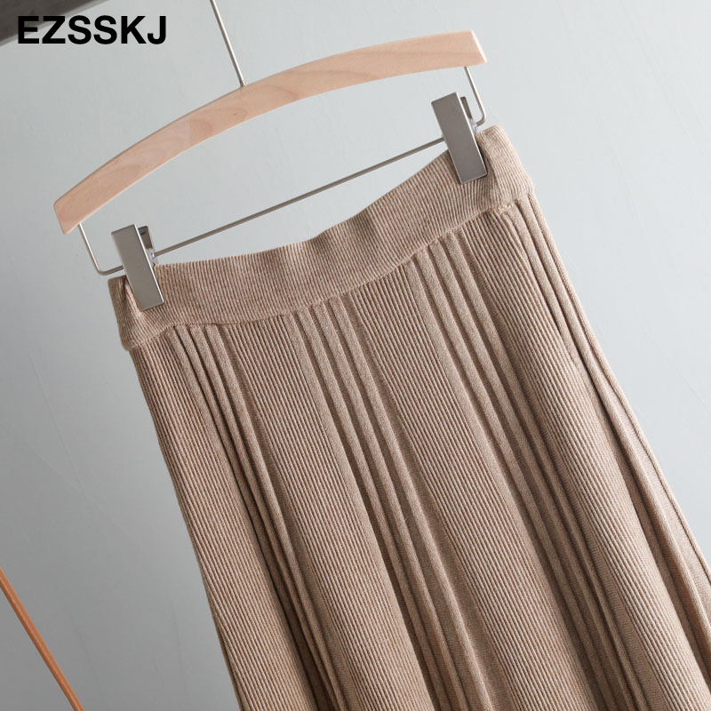 Vintage Winter Women thick sweater skirt Elastic High Waist Pleated Midi knitted Skirt A-line female solid elegant Skirts 24
