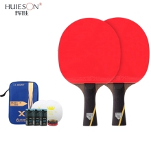 Huieson 6 Star Table Tennis Racket Sets Double Face Pimples-in Rubber Ping Pong Bat with Table Tennis Balls/Cover/Edge Protector
