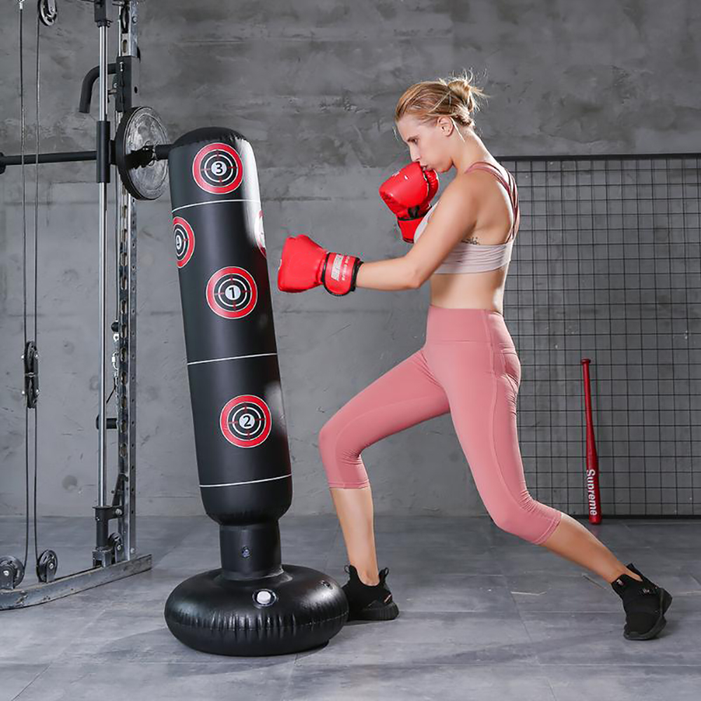 Person - 1.6M Inflatable Stress Punching Tower Bag Boxing Standing Tumbler Muay Training Pressure Relief Bounce Back Sandbag with Pump