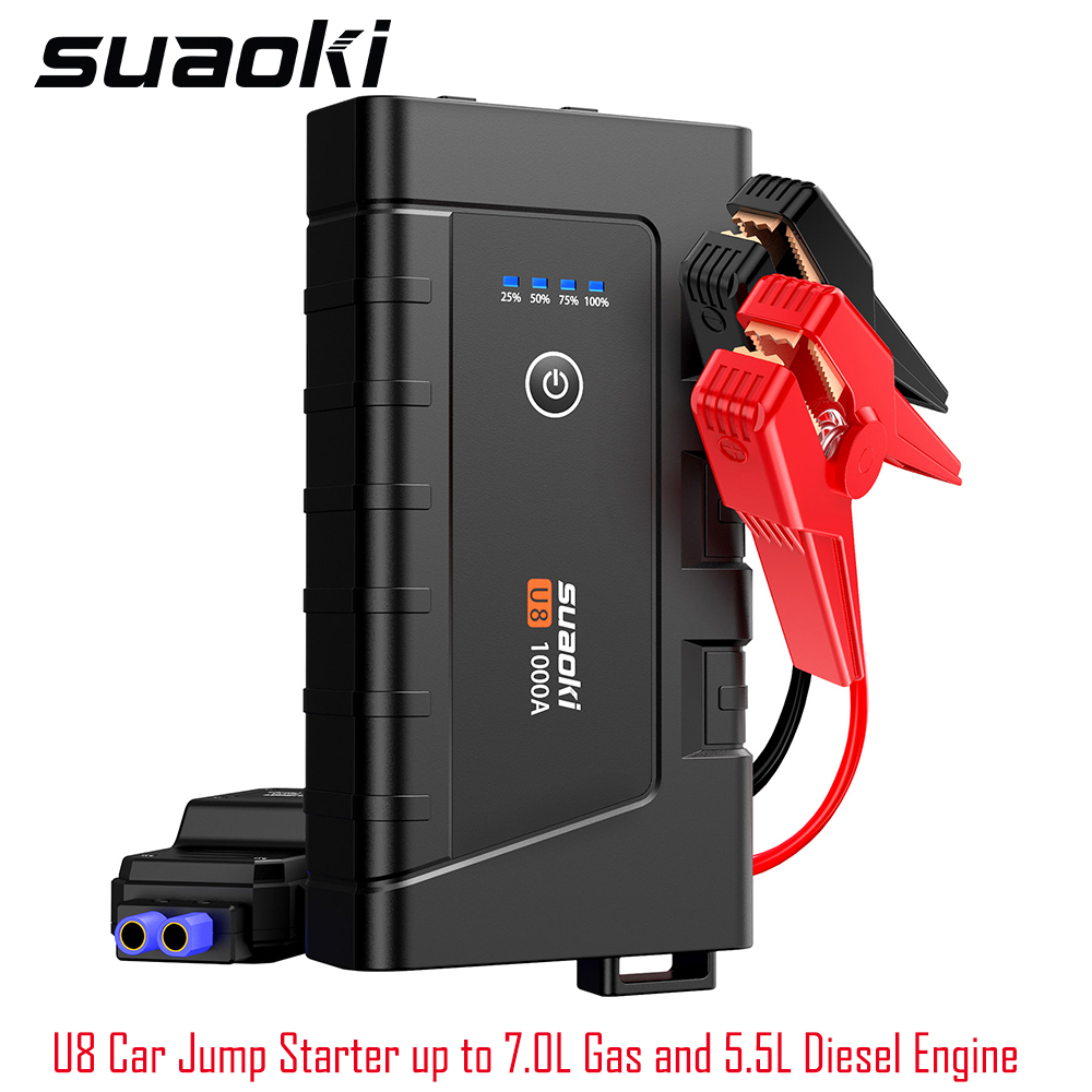 LCD Display 500A//12000mAh Lithium-Ion Polymer Car Jump Starter /& Power Bank