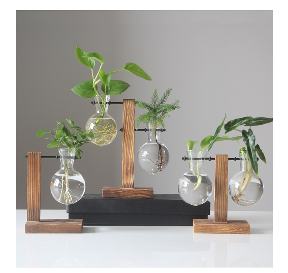 Terrarium Hydroponic Plant Glass Vase Flower Pot+Wooden Frame Stand Home Decor A