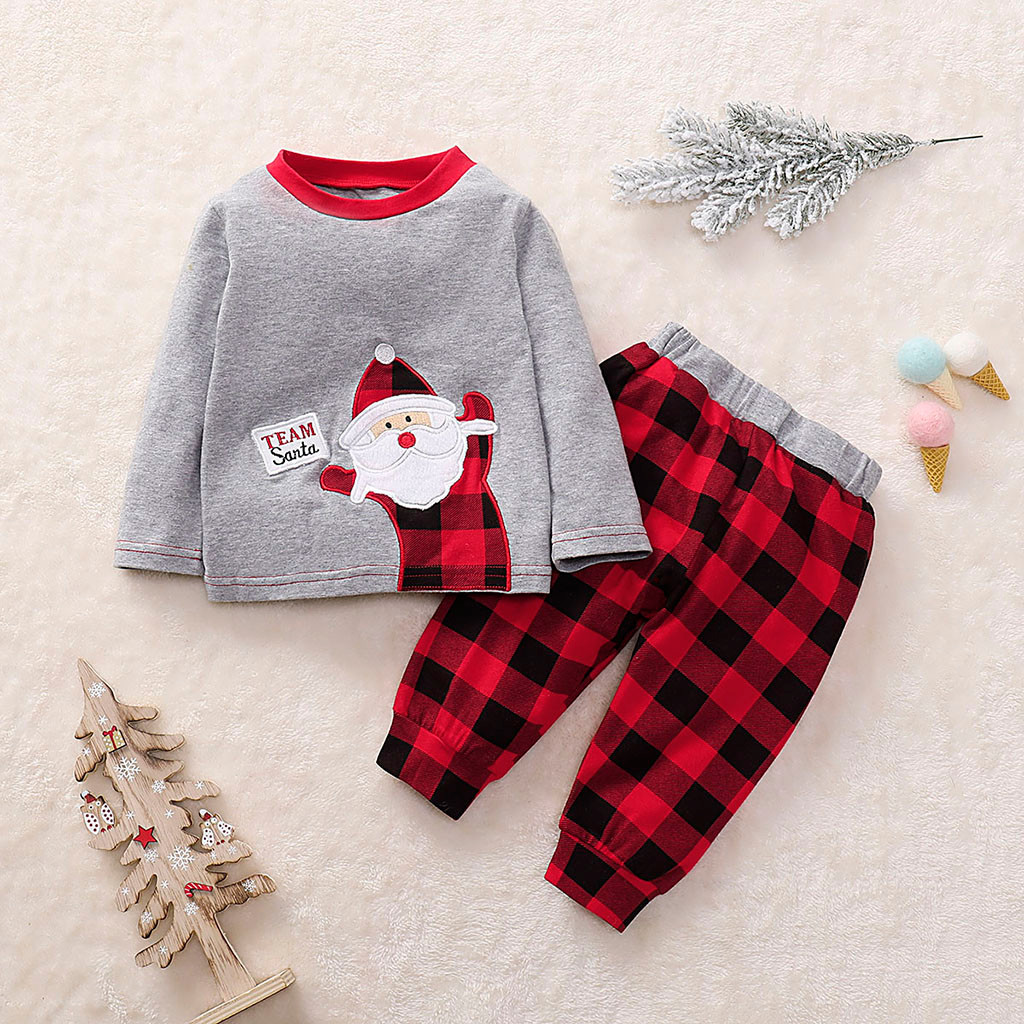 Christmas Kids Baby Boy Girl Autumn Winter Clothes Santa Claus 4PCS Xmas Outfits