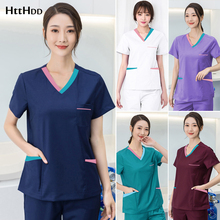 Uniform Dentist Scrubs-Set 42008-1surgical-Suit Pet-Clinic Pharmacy Women Short-Sleeve