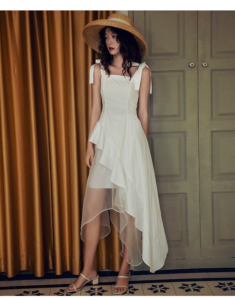 H28bbac2562684e088b254a1f047821een - Summer Thin Shoulder Straps Sleeveless Mesh Patchwork Ruffle Asymmetrical Dress