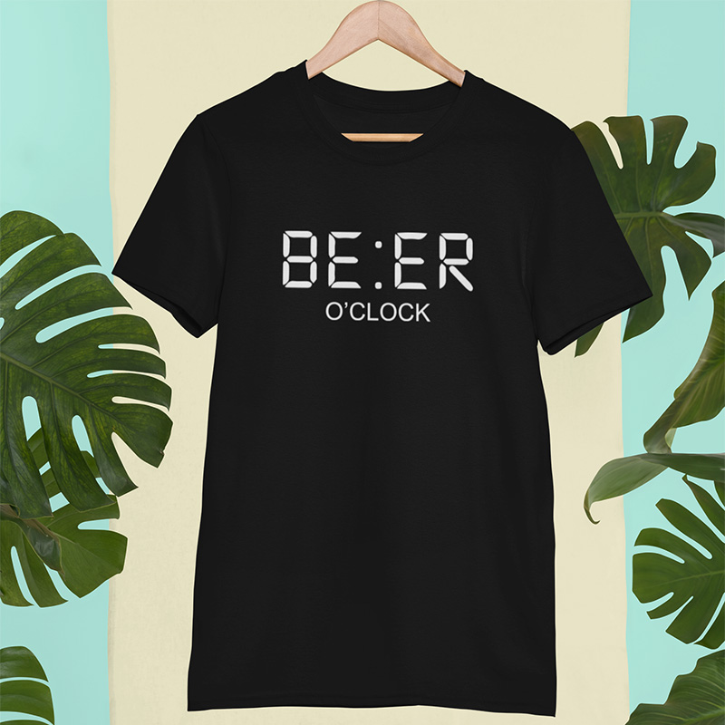 Beer T shirt Clock Drink Creative Design Personality Short Sleeved Tees High Quality O-Neck 100% Cotton T-shirt EU Size