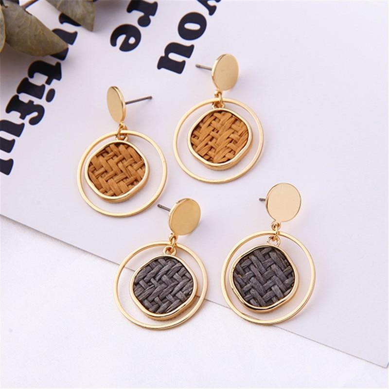 Fashion metal Round stud earrings female Metal retro joker long knitting earrings Classic Geometric stud earrings for women