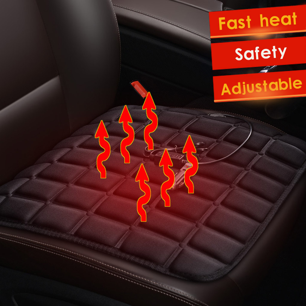 Warmer Heater Fast-Heating Front-Seat-Cushion-Cover Universal Car Winter Black 12V Electric title=
