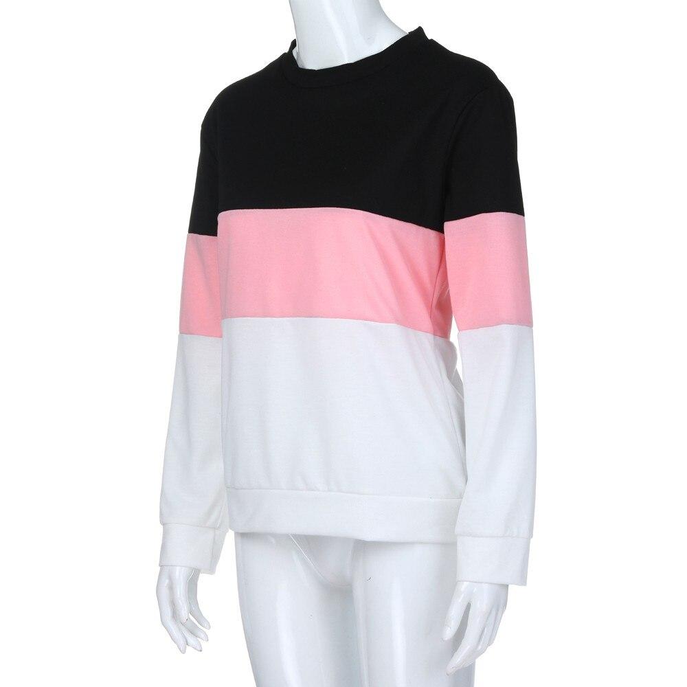 JAYCOSIN Fashion Women Cut Sew Stripe Long Sleeve Sweatshirt Elegant Chic Round Neck Splice Casual Crop Jumper Pullover Tops