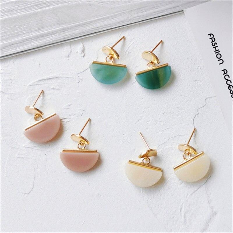 Vintage Temperament stud earrings fashion metal semicircle earrings resin contracted joker fan geometric earrings for women