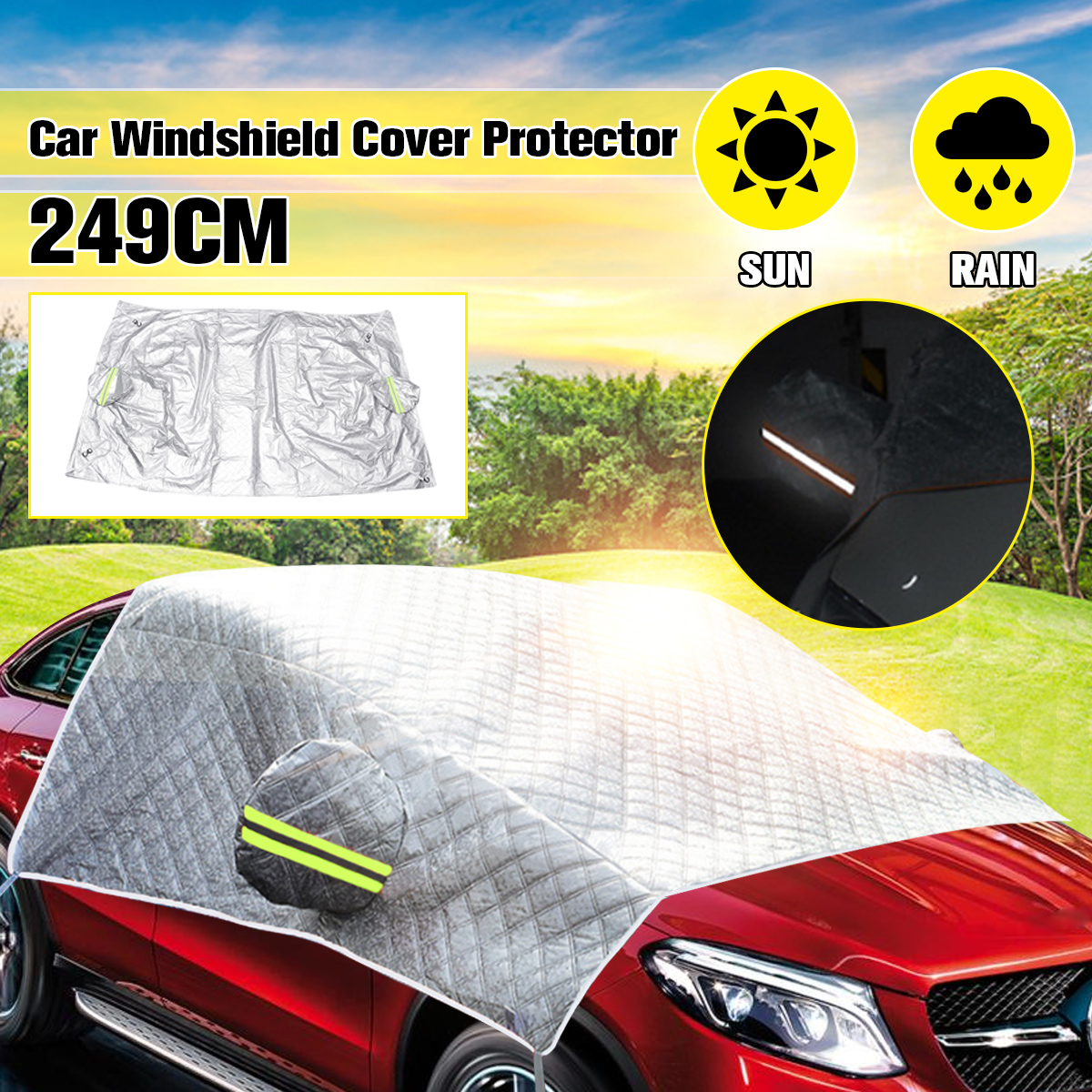 Protector Frost-Guard Reflective-Bar-Cover Car-Windshield-Mirror Sun-Shade Snow Universal title=