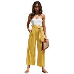 Повседневные хлопковые льняные женские широкие брюки с высокой талией на лето и осень, офисные свободные брюки палаццо, женские брюки черно...