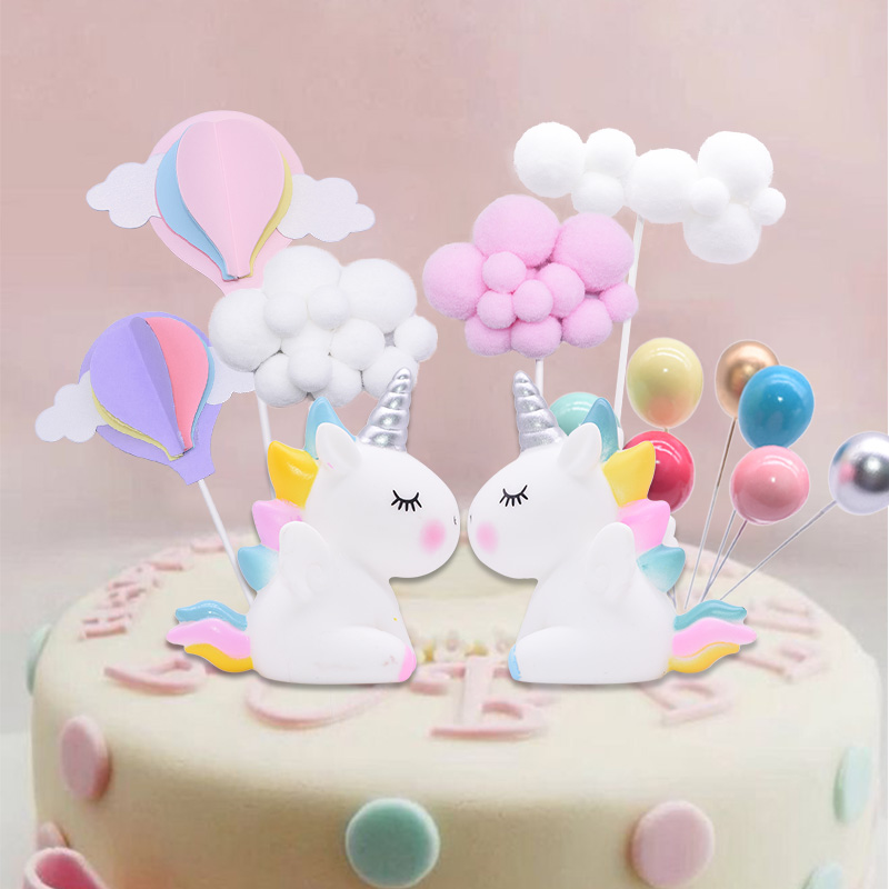 Rainbow Unicorn Cake Topper Birthday Party Decor Baby Shower Wedding Supplies Cloud Ballon Cake Toppers Kids Favor