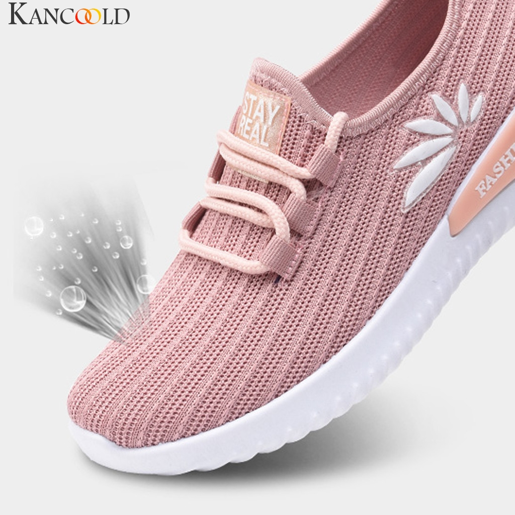 Sneakers Embroidery Sports-Shoes Mesh Non-Slip Outdoor Breathable Women Ladies Lightweight title=