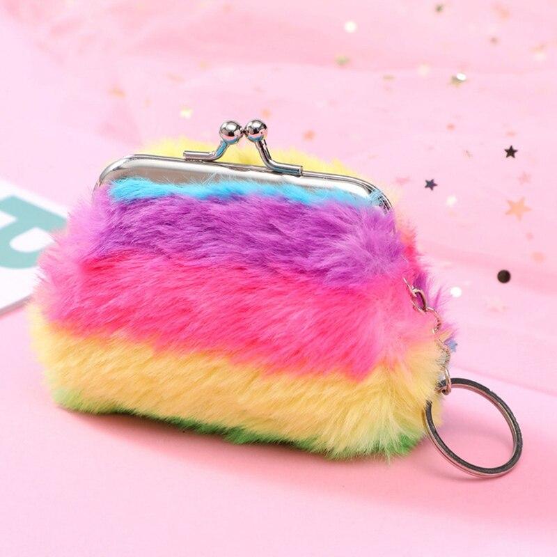 Plush Cosmetic Bags Shell Bag Mini Money  Holder Keychain Girls Wallet
