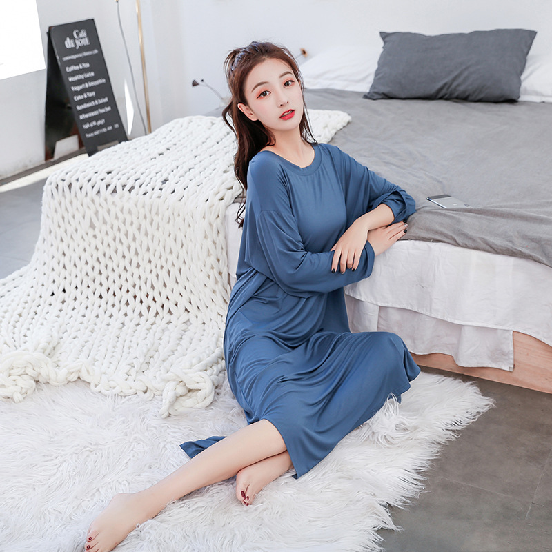 New Ladies Basic Sleep Shirt Sexy Lingerie Solid o-Neck Long Nightgown Modal Sleepwear Summer Loose Pregnant Nighty Nightdress