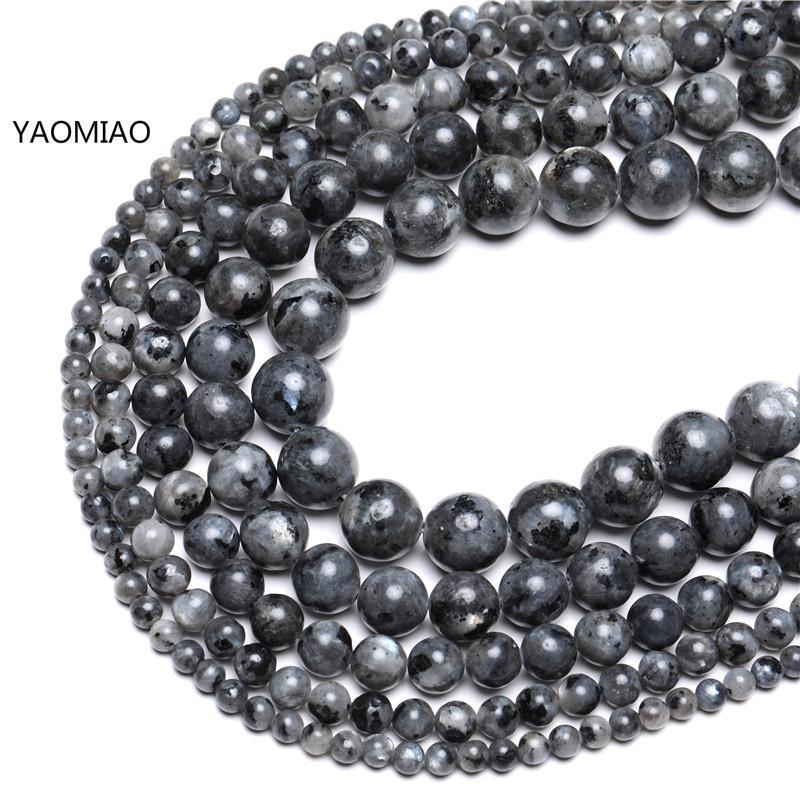 """Natural de Fabricación de Joyería Redondo larvikite Piedras Preciosas Perlas Strand 15/"""" 6 8 10 12mm"""