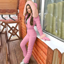 Jumpsuits Ski-Suit One-Piece Winter Women's New Padded Parka Hooded Warm-Sashes Zipper