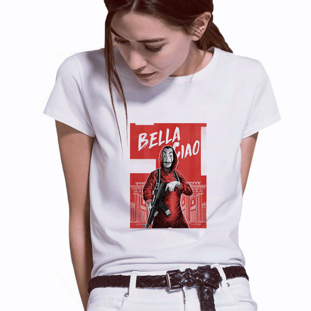 women t shirt Funny Design La Casa De Papel T Shirt Money Heist Tees TV Series Short Sleeve House of Paper T-Shirt
