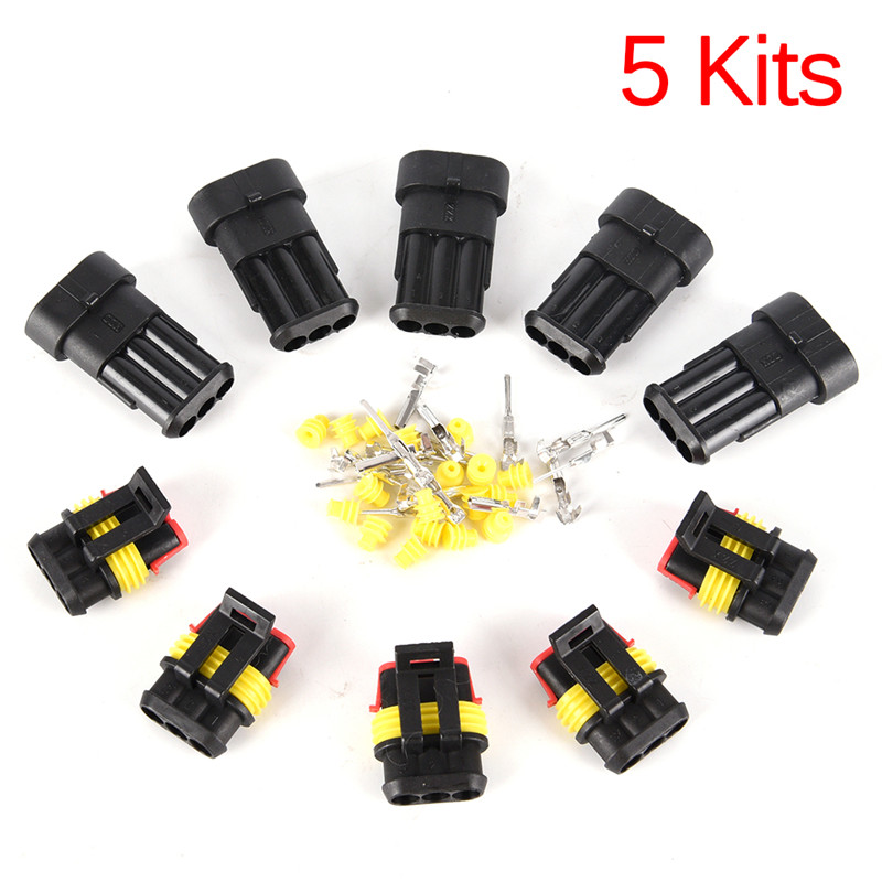 Baoblaze Set of 5 3 Pin Electrical Connector Plug Socket Kit with Wire Waterproof