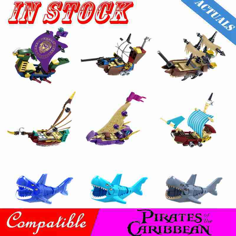 Pirates of Caribbean Pearl Bounty Pirate Ship Jack Sparrow Elizabeth Mermaid David Movie Figures Building Block Toy For Children
