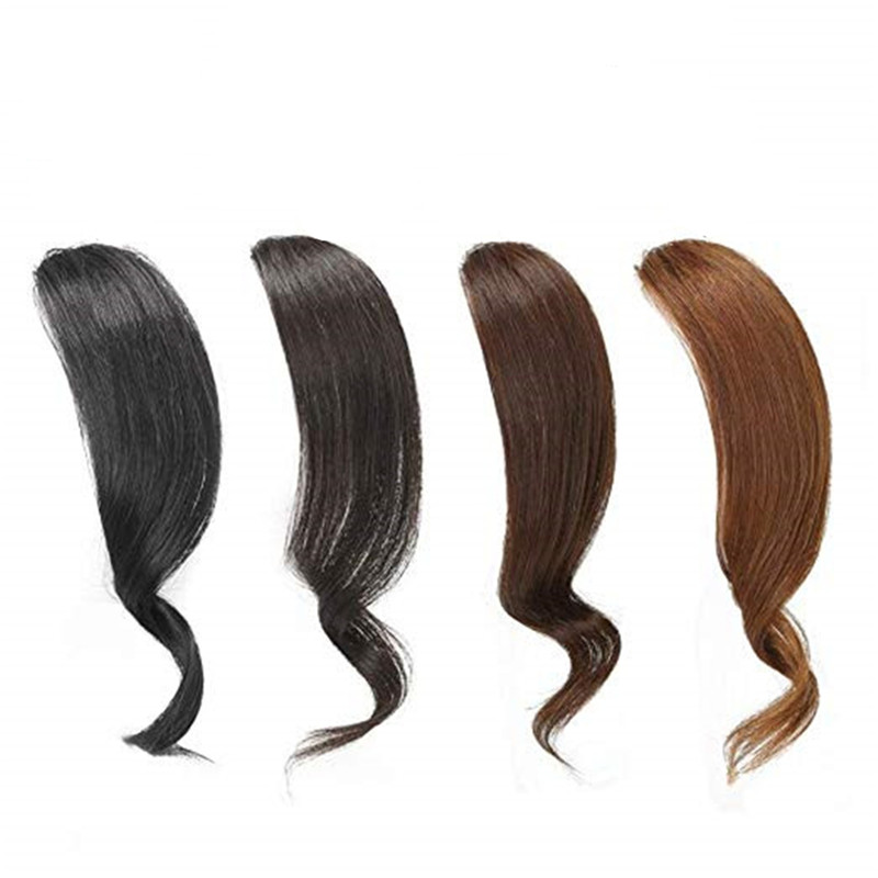 Halo Lady Beauty 2PCS Wave Side Bangs Brazilian Real Human Hair Clip In Bangs Fringe Hair Extensions Hairpieces Non-remy
