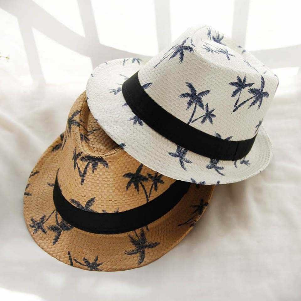 Men Women Straw Fedora Trilby Hat Summer Beach Child Sun Panama Cap Outdoor Lot