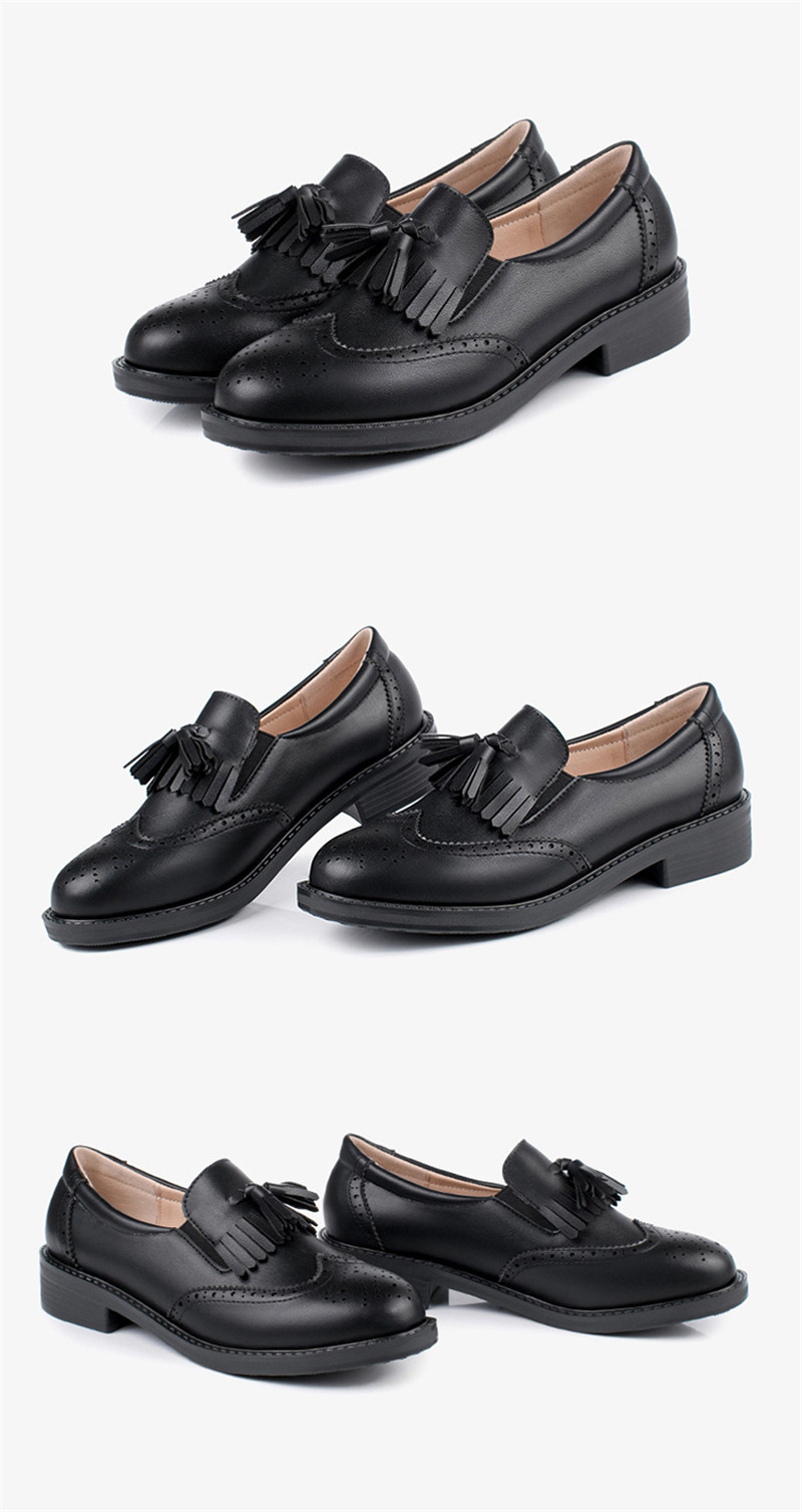 New British Carved Oxford Shoes For Woman Korean College Slip On Student Flats Brogues Shoes Retro Tassel Casual Women's Loafers (28)