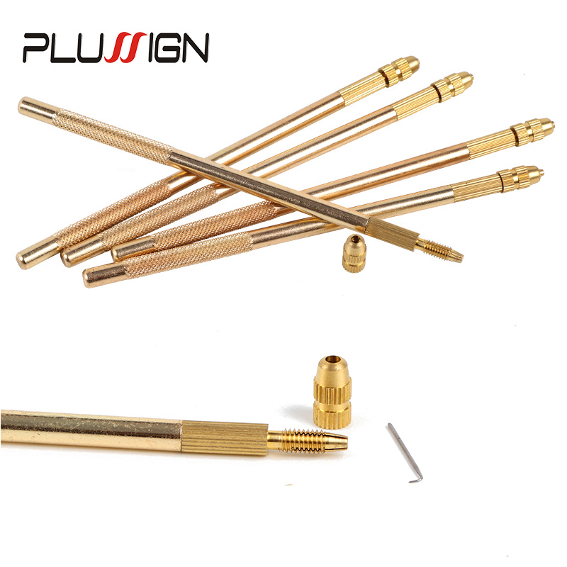 Plussign Wig Making Kit Bronze Ventilating Holder And 4 Pcs Different Ventilation Needles With Plastic Rustproof Packaging
