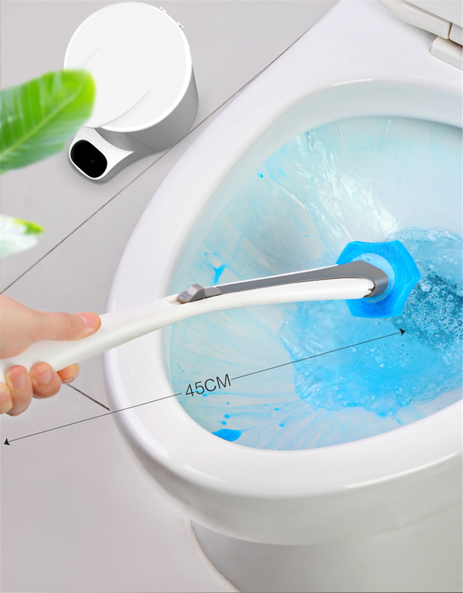 Toilet Bowl Cleaner Wand Disposable Cleaner Brush Holder with 16 Cleaning Refill
