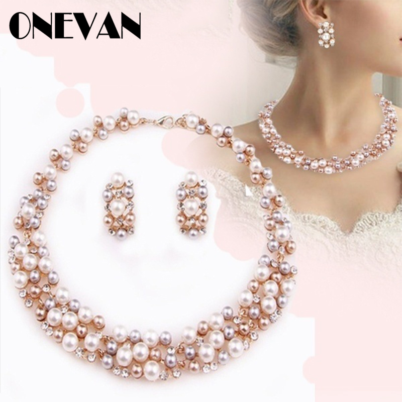Crystal Necklace Earrings Jewelry-Sets Rhinestone Party-Gift Imitation-Pearl Elegant title=