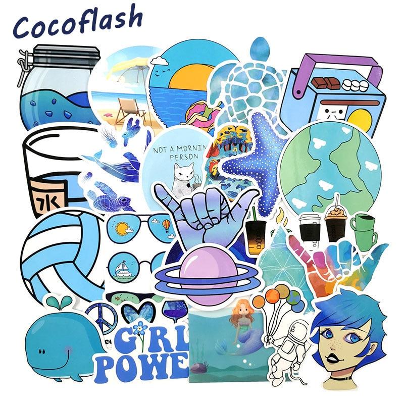 100 Pcs Vsco STYLE Blue Cartoon Stickers Ocean Flower Cartoon Animals Seahorse Starfish Glasses Dolphins Toy Sticker Waterproof